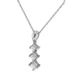 14k White Gold 1/2ct TDW Graduated Diamond Journey Necklace (G-H, I1)