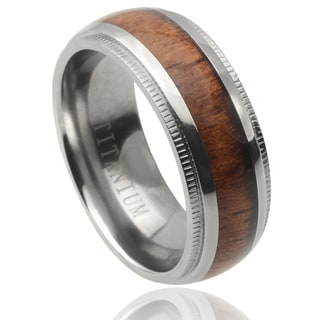 Vance Co. Men's Titanium Wood Inlay Band