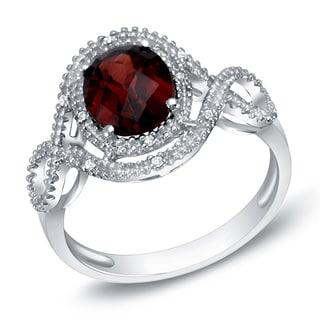 Auriya 14k White Gold Garnet and Diamond Fashion Ring (H-I, SI1-SI2)