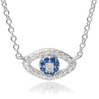 Journee Collection Sterling Silver Cubic Zirconia Evil Eye Pendant Necklace