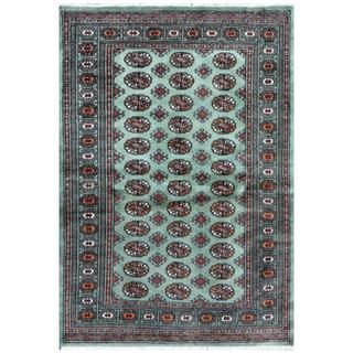 Pakistani Hand-knotted Bokhara Green/ Ivory Wool Rug (4'3 x 6')