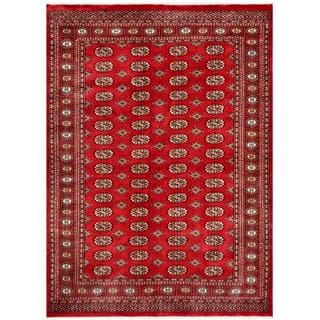 Pakistani Hand-knotted Bokhara Red/ Ivory Wool Rug (5'2 x 7')