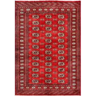 Pakistani Hand-knotted Bokhara Red/ Ivory Wool Rug (4'8 x 6'8)