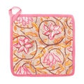 Set of 2 Handmade Quilted Pink Floral Pot Holders (India)