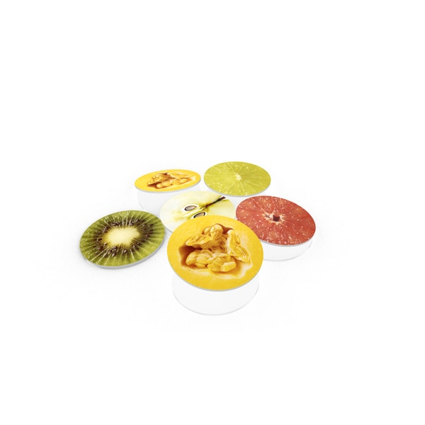 Various Fruits Close-up Glass Coaster (Set of 6)