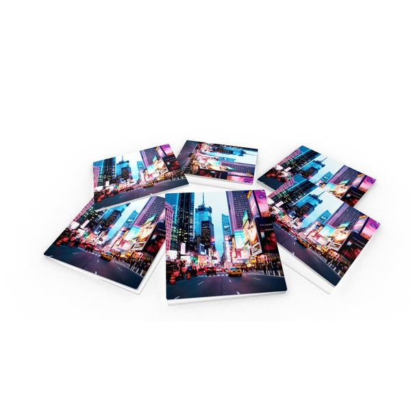 Times Square, New York City Glass Coasters (Set of 6)