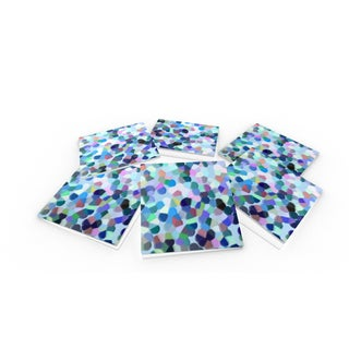 Abstract Multicolored Dot Glass Coasters (Set of 6)