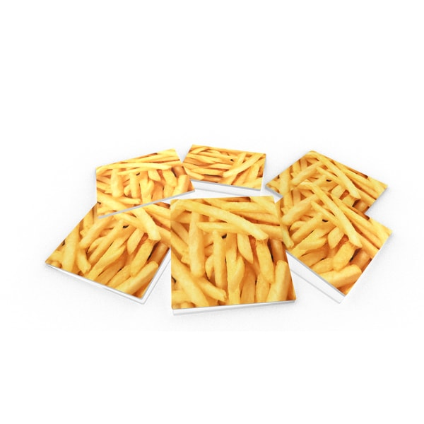 French Fries Close-up Glass Coasters (Set of 6)