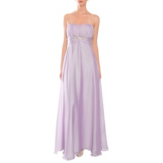 Mikael Aghal Women's Lilac Strapless Rhinestone-waist Evening Gown