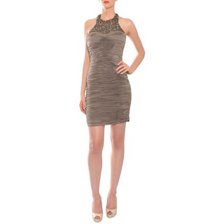 Mikael Aghal Women's Coffee Rhinestone Neckline Ruched Cocktail Dress