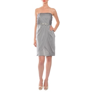 Mikael Aghal Women's Silver Strapless Rhinestone-waist Evening Dress