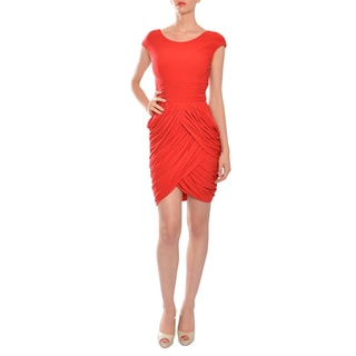 Mikael Aghal Women's Crimson Red Draped and Ruched Evening Dress