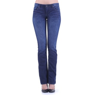 Stitch's Women's Blue Low-waist Stretch Denim Subtle Boot Cut Jeans