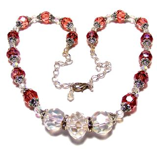 Salmon/ Melon and Clear Crystal 4-piece Wedding Jewelry Set