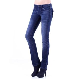 Stitch's Women's Blue Flapped Pockets Denim Straight Leg Jeans
