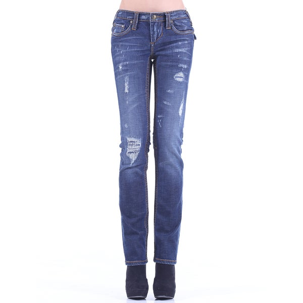 Stitch's Women's Slim Fit Ripped Style Medium Wash Jeans