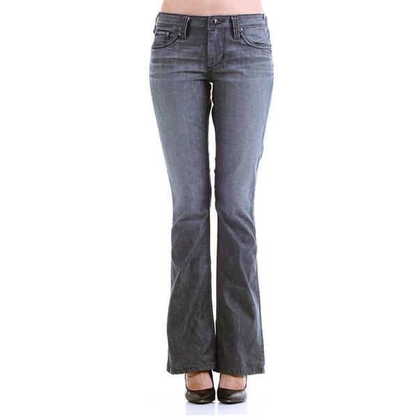Stitch's Women's Blue Denim Low Waist Casual Boot-cut Jeans