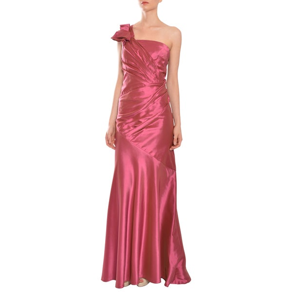 Carmen Marc Valvo Women's Raspberry One-shoulder Mermaid Style Evening Gown