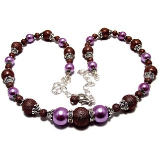 Textured Chocolate Brown and Violet Glass Pearl 4-piece Wedding Jewelry Set