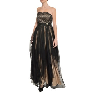 A.B.S. Women's Black Strapless Tiered Lace Beaded Evening Gown