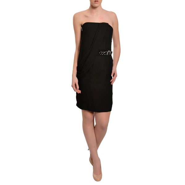 Badgley Mischka Women's Black Crepe Embellished Strapless Party Dress