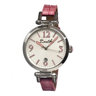 Bertha Women's Lilah Silver Leather Hot Pink Analog Watch
