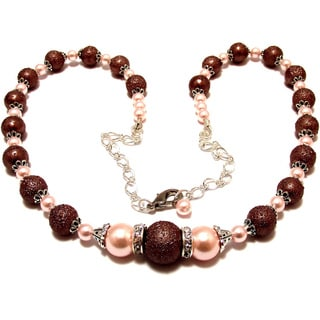 Textured Chocolate Brown and Pink Glass Pearl 4-piece Wedding Jewelry Set