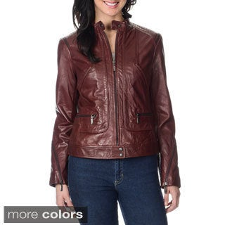 Bernardo Women's Leather Zipper Trim Jacket