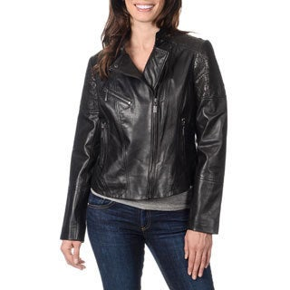 Bernardo Women's Laser Cut Leather Jacket