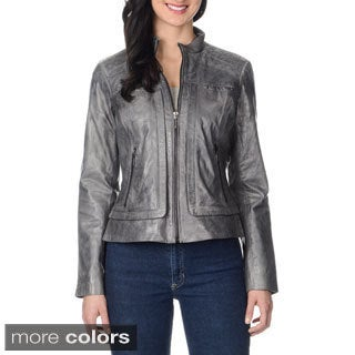 Bernardo Women's Quilted Yoke Leather Jacket