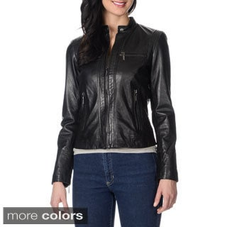 Bernardo Women's Stitch and Zipper Detail Leather Jacket