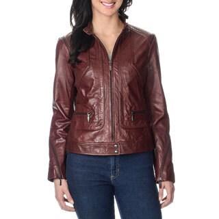 Bernardo Women's Petite Zipper Trim 100-percent Leather Jacket