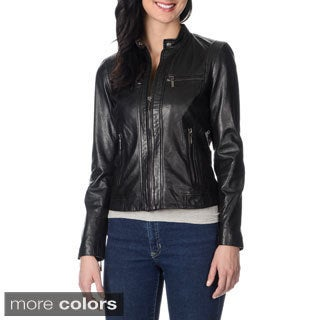 Bernardo Women's Petite Stitch and Zipper Detail Leather Jacket