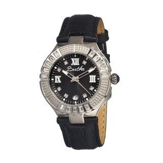 Bertha Women's Evelyn Black Leather Black Analog Watch