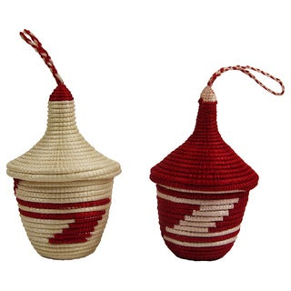 Set of 2 Hand-woven White/ Red Peace Basket Ornaments (Rwanda)