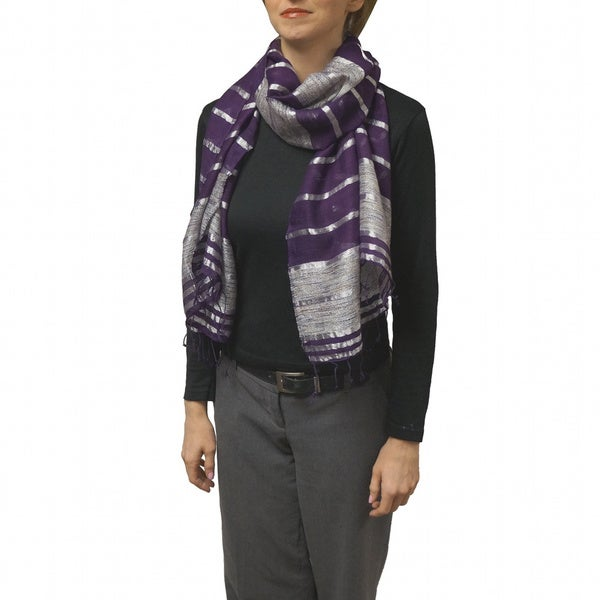 Hand-woven Colorband Purple Scarf (India)