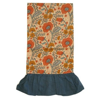 Handmade Blue/ Beige Floral Kitchen Towel (India)