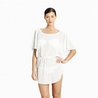 Jordan Taylor Women's White Raglan Flutter-sleeve Cover-up Tunic