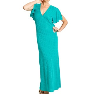 Jordan Taylor Women's Jade Blue Flutter Sleeve Maxi Dress
