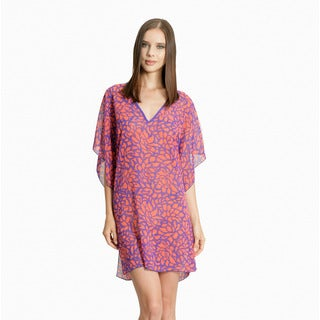Jordan Taylor Women's Coral and Purple Abstract Floral Print Tunic
