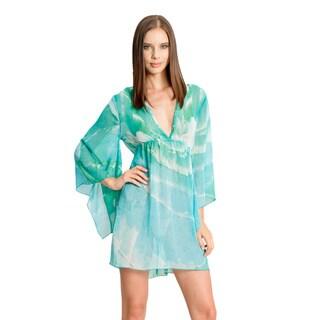 Jordan Taylor Women's Turquoise/ Green Flowy Sleeve Caftan
