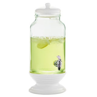 White Ceramic/ Glass Beverage Dispenser