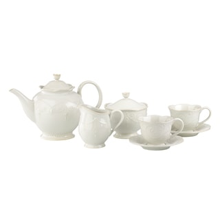 Lenox 'French Perle' White 7-piece Tea Set
