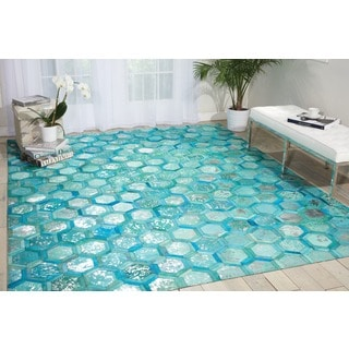 Nourison Michael Amimi City Chic Turquoise Leather Rug (8 x 10)