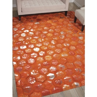 Nourison Michael Amimi City Chic Tangerine Leather Rug (8 x 10)