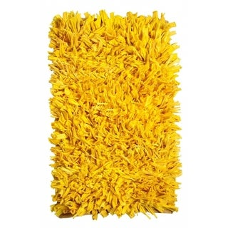Hand-knotted Jersey Yellow Cotton Shag Rug (2' x 3')