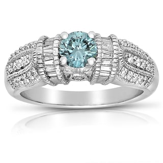 Eloquence 14k White Gold 1 1/6ct TDW Blue and White Diamond Ring (SI1-SI2)