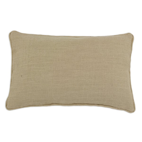 Somette Rectangular Natural Burlap Corded Throw Pillow