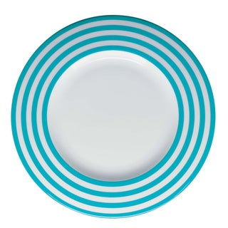 Red Vanilla Freshness Turquoise Lines 11.25-inch Dinner Plates (Set of 6)