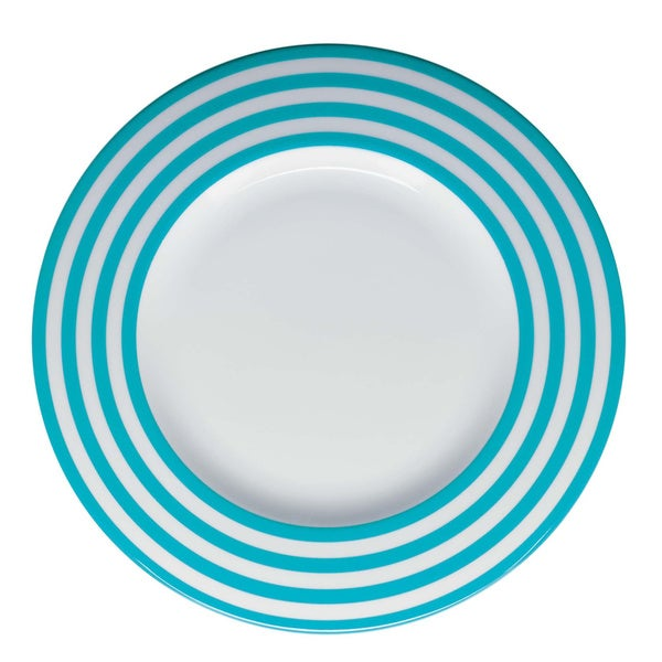 Red Vanilla Freshness Mix & Match Turquoise Lines 11.25-inch Dinner Plates (Set of 6)